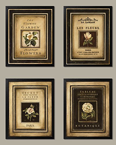 Gango Home Decor Framed Flower Garden; Lovely, Vintage French Floral Signs; Four Framed 8x10 Prints from Gango Home Decor