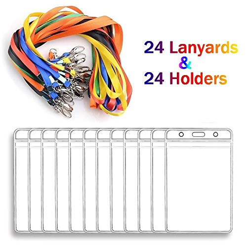 Lanyard With ID Badge Holders Vertical Name Badge Card Holders Bulk 24 Sets for Kids and Adults -
