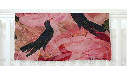 KESS InHouse Suzanne Carter Song Bird Cush Red Black Fleece Baby Blanket 40 x 30 [並行輸入品]   B077Z479LW