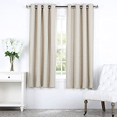 "HPD HALF PRICE DRAPES BOCH-PL4201-63-GR Bellino Grommet Blackout Room Darkening 63 Inch Curtain, 50 X 63, Cottage White - Sold Per Panel 100% Polyester Finished With 8 Nickel Finish Grommets (1-5/8"" Opening) - living-room-soft-furnishings, living-room, draperies-curtains-shades - 51jHABLh7FL. SS400  -"