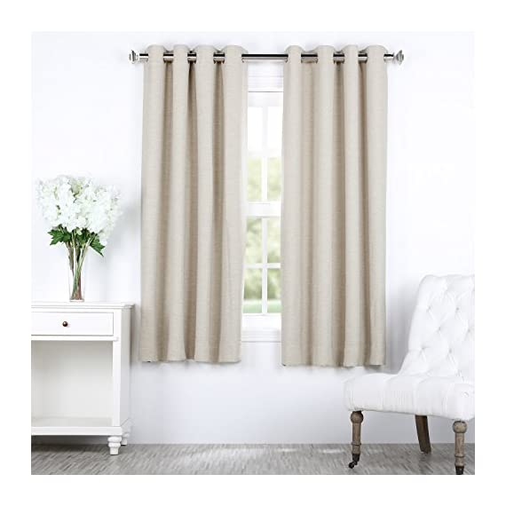 "HPD Half Price Drapes BOCH-PL4201-63-GR Bellino Grommet Blackout Room Darkening Curtain (1 Panel), 50 X 63, Cottage White - Sold Per Panel 100% Polyester Finished With 8 Nickel Finish Grommets (1-5/8"" Opening) - living-room-soft-furnishings, living-room, draperies-curtains-shades - 51jHABLh7FL. SS570  -"