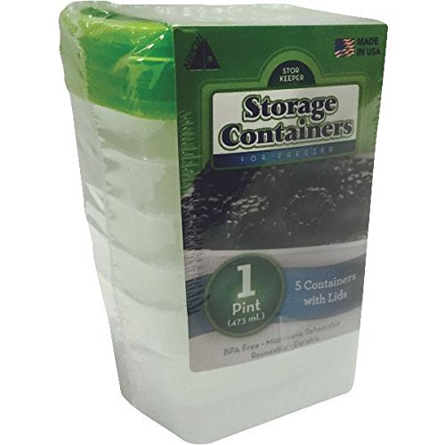 Arrow Plastic 00042 5 Pack 1 Pint Stor-Keeper Freezer Storage Containers,Clear