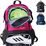 Athletico National Soccer Bag - Backpack for Soccer, Basketball & Football Includes Separate Cleat and Ball Holder (Pink)