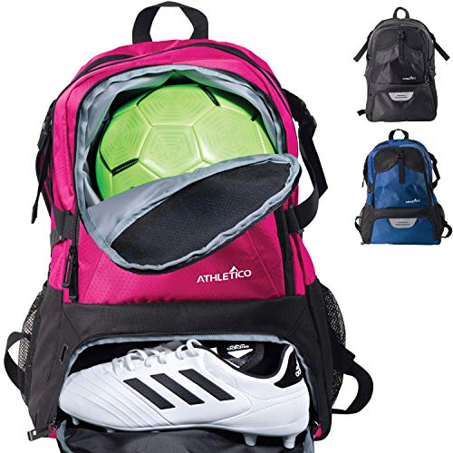 Soccer Gym Bag - Athletico National Soccer Bag - Backpack for Soccer, Basketball & Football Includes Separate Cleat and Ball Holder (Pink)