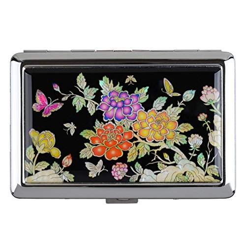 (Cigarettes Box Storage Case Box Tobacco 100s Cigar Container Holder Mother of Pearl (Peony)