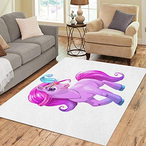 2' Curly Tail - Pinbeam Area Rug Beautiful Cartoon Standing Young Horse Purple Curly Hair Home Decor Floor Rug 2' x 3' Carpet