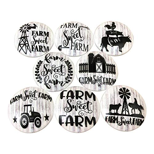 Set of 8 Black and White Farmhouse Wood Cabinet Knobs (Farm Sweet Farm)