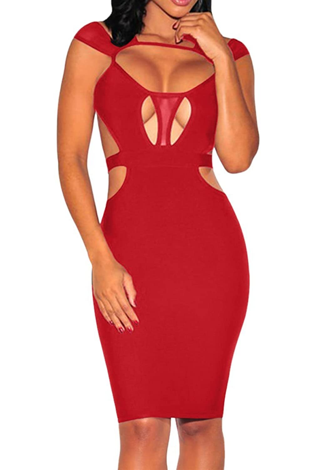 LOV ANNY Women's Sexy Keyhole Backless Hollow Out Bandage Club Bodycon Dress