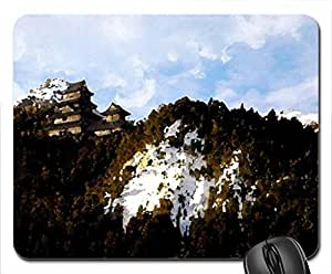 japanese castle on a mountain in winter Mouse Pad, Mousepad (Medieval Mouse Pad, 10.2 x 8.3 x 0.12 inches)