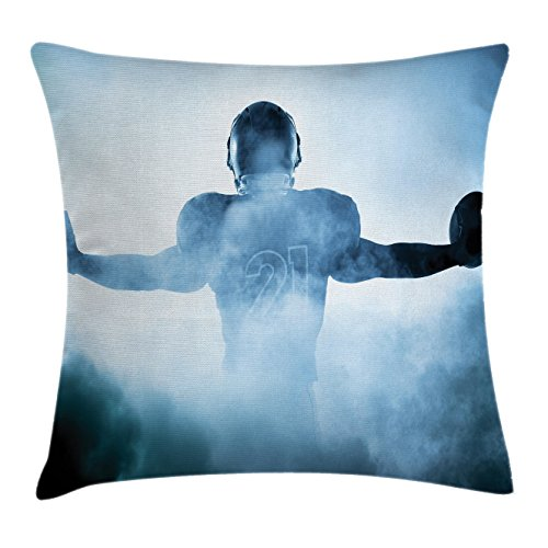 Ambesonne Sport Throw Pillow Cushion Cover, Heroic Shaped Rugby Player Silhouette Shadow Standing in Fog Playground Global Sports Photo, Decorative Square Accent Pillow Case, 36
