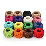 GreenPeaceLove 14 Colorful Jute Twine 2mm 3 ply + 2 Natural Twine Roll (1312 Feet 400 Yards) Twine String for Crafts, DIY Artworks, Gift Box Vase Wrapping Twine, Picture Display, Embellishments