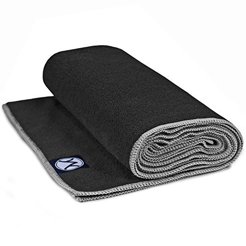 (Youphoria 24-Inch-by-72-Inch Microfiber Yoga Towel, Black Towel/Gray Stitching)