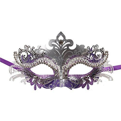 Vanki 1 Pcs Masquerade Mask Laser Cut Metal Shiny Rhinestone Party Mask,Purple&Silver