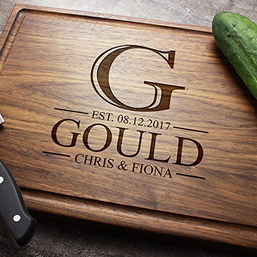 Walnut Sapele or Maple #30 Personalized Engraved Custom Cutting Board Contemporary Monogram for Couples