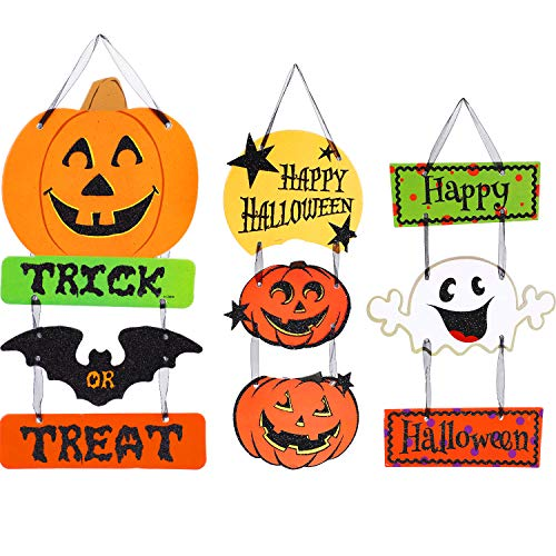 Jetec 3 Pieces Halloween Door Hanging Halloween Wall Hanging Decoration Trick or Treat Hanging Sign Decor for Home, School, Office, Party