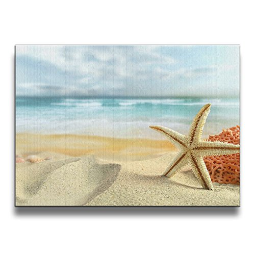 Janvonne Beach Sea Shells Starfish Canvas Wall Art Decor Framed Oil Paintings Pictures Modern Decorations For Living Room Bedroom Bathroom Decor by Janvonne