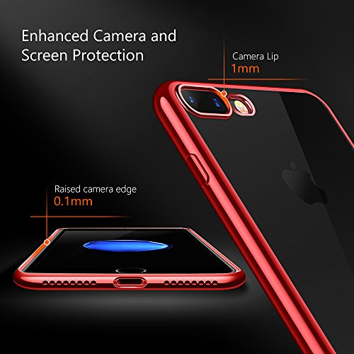 TORRAS Crystal Clear iPhone 8 Plus Case/iPhone 7 Plus Case, Soft Cover Case with Electroplated Frame Ultra Slim TPU Gel Case Compatible with iPhone 7 Plus/8 Plus, Clear Back & Red Frame by TORRAS (Image #4)