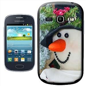 Fancy A Snuggle - Carcasa rígida para Samsung Galaxy Fame S6810, diseño de muñeco de nieve con sombrero