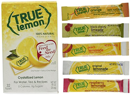 (True Lemon 32ct pack. Plus 5 SAMPLE sticks of True Lemon Lemonade, Peach, Raspberry, Black Cherry, and Orange Mango. Natural Flavored Water Enhancer, Great beverage option for Paleo and Atkins diets.)