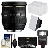 Sigma 24-70mm f/2.8 IF EX DG HSM Zoom Lens for Canon EOS DSLR Cameras with Flash + Soft Box + Bounce Diffuser + 3 UV/CPL/ND8 Filters + Kit