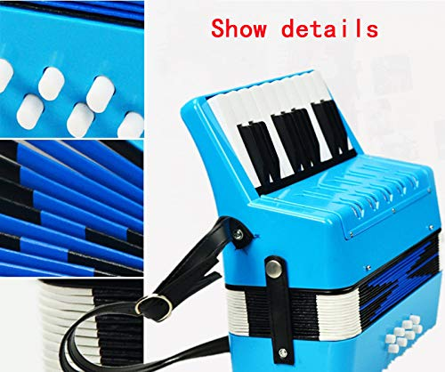 SFQNPA 17K 8B Mini Accordion Children's Accordion Instrument ABS Plastic Piano Accordion Educational Instrument for Students Beginners Children's Instrument (Blue) by SFQNPA (Image #3)