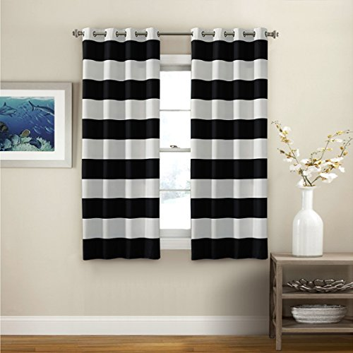 Turquoize Striped Pattern Thermal Insulated Blackout Curtains 2 PANELS Grommet Top Window Curtain Panel Pair For Living Room Black White