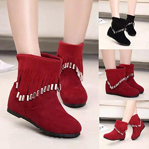 Low Longra Martin Boots Short Winter Buckle Heel Pixie Black Shoes Boots Zip Block Ankle Womens rIHIZq