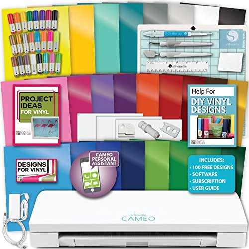 Silhouette Cameo 3 Machine Bundle Sketch Pen Pack, 25 Sheets Oracal Vinyl, Hook, Scraper, Spatula, Quick Pick Up, Designs by Silhouette America