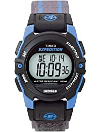 Unisex T49660 Expedition Mid-Size Digital CAT Gray/Blue Stripe Fast Wrap Strap Watch