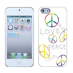 One Tough Shield ? SLIM-FIT Hard Cover Phone Case for Apple iPhone 5 5s - (Love/Peace)