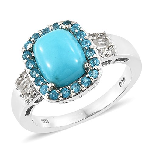 925 Sterling Silver Platinum Plated Cushion Sleeping Beauty Turquoise, Multi Gemstone Gift Ring Size ()