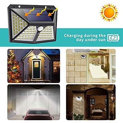 Solar Lights Outdoor,?2019 Newest 270º Four-Angle Lighting?98 LED Solar Motion Sensor Lights, 3 Modes Waterproof Solar Wall Lights Wireless Solar Security Lights for Deck, Fence, Garage, Yard(2 Pack)