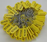 Plastic Wire Padlock Security Seals Sequentially Numbered Yellow (Pack of 100)