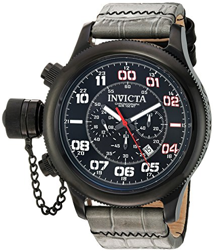 Invicta Men's Russian Diver Stainless Steel Quartz Watch with Leather Strap, Grey, 25 (Model: 22289)