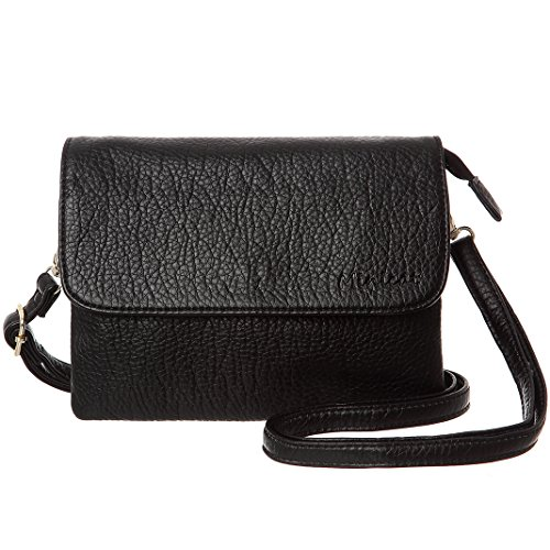 MINICAT Women Synthetic Leather Small Crossbody Bag Cell Phone Purse Wallet(Black-Small Size-no card slots) by MINICAT