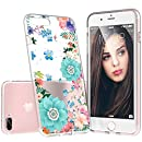 iPhone 8 Plus Case,iPhone 7 Plus Case Clear With Design, Custype Floral Soft TPU Shockproof Anti-Scratch Protective Flexible Case for iPhone 7 Plus/iPhone 8 Plus (Floral 07)