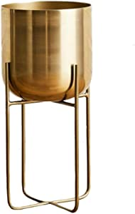 Serene Spaces Living Tall Gold Soho Planter with Detachable Metal Stand, Decorative Indoor Planter Pot, Flower Pots Stand for Living Room, Kitchen, Office, Measures 26