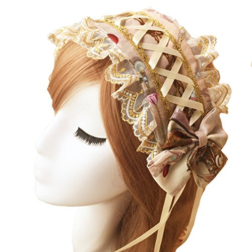 Smiling Angel Purple Apricot Gothic Lolita COS Maid Castle Elf Cascading Lace Hair Accessories Hair Bands ()