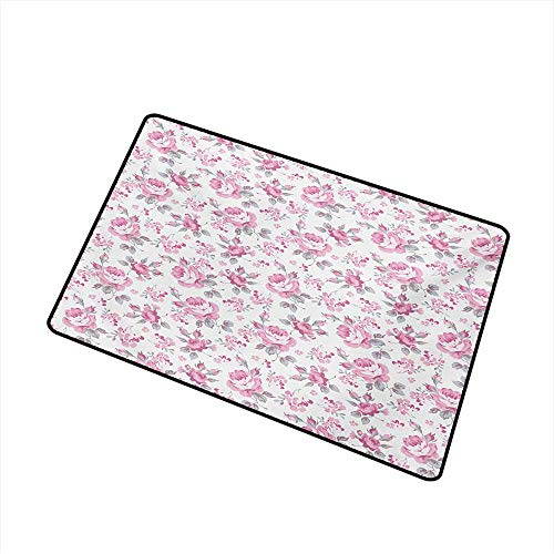 Diycon Outdoor Door mat Shabby Chic Pink Roses with Grey Leaves Garden Bedding Plants Spring Blossoms W31 xL47 Anti-Fading