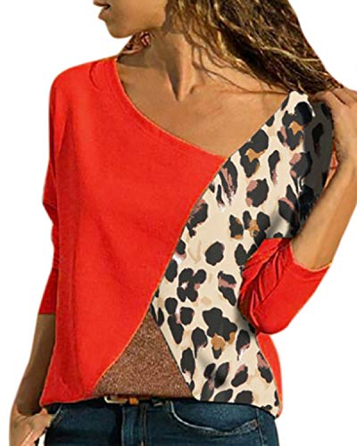 YOINS Women V Neck Tops Long Sleeve Color Block Design Casual Loose Blouse Tunic Tee Pullover