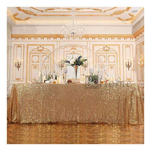 Poise3EHome 50x80 Rectangle Sequin Tablecloth for Wedding Party Cake Table, Light Gold