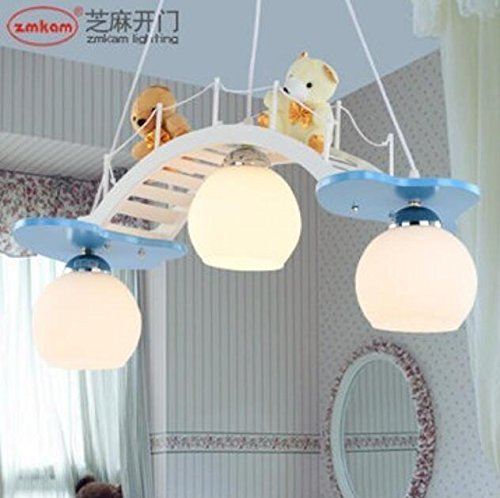 Cute cartoon colored children room chandelier bedroom lamps boys girl princess blue warm lights lu131538py