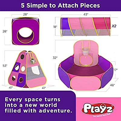 Playz 5pc Children's Playhouse Popup Tents, Tunnels, and Basketball Hoop for Girls, Boys, Babies, Kids and Toddlers with Zipper Storage Case for Indoor & Outdoor Use (Yellow, Pink, Purple): Toys & Games