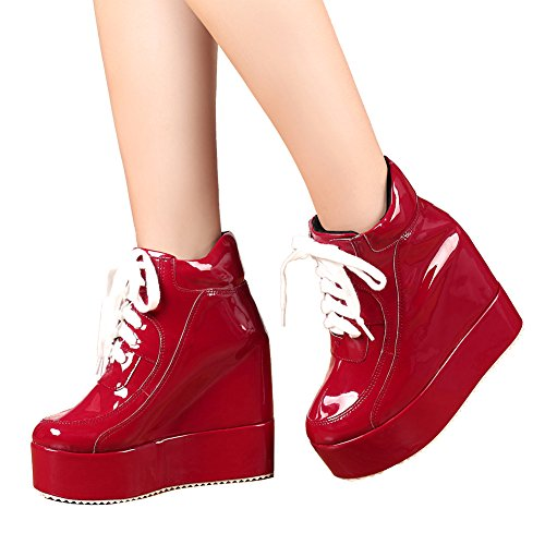 Lace Ankle Boots Womens Punk Red Patent up Sneakers getmorebeauty Platform Chelsea Heel High Wedge Hidden F0xnOqSw7