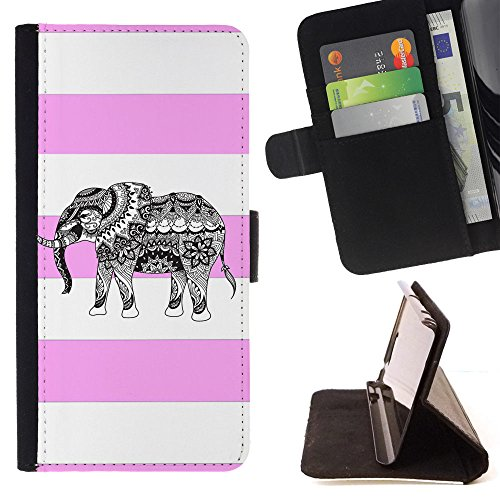 Tribal Elephant T-light Holder (Graphic4You Tribal Elephant Stripes Pattern (Light Pink) Thin Wallet Card Holder Leather Case Cover for LG X Power2 / LG X Charge/LG K10 Power)