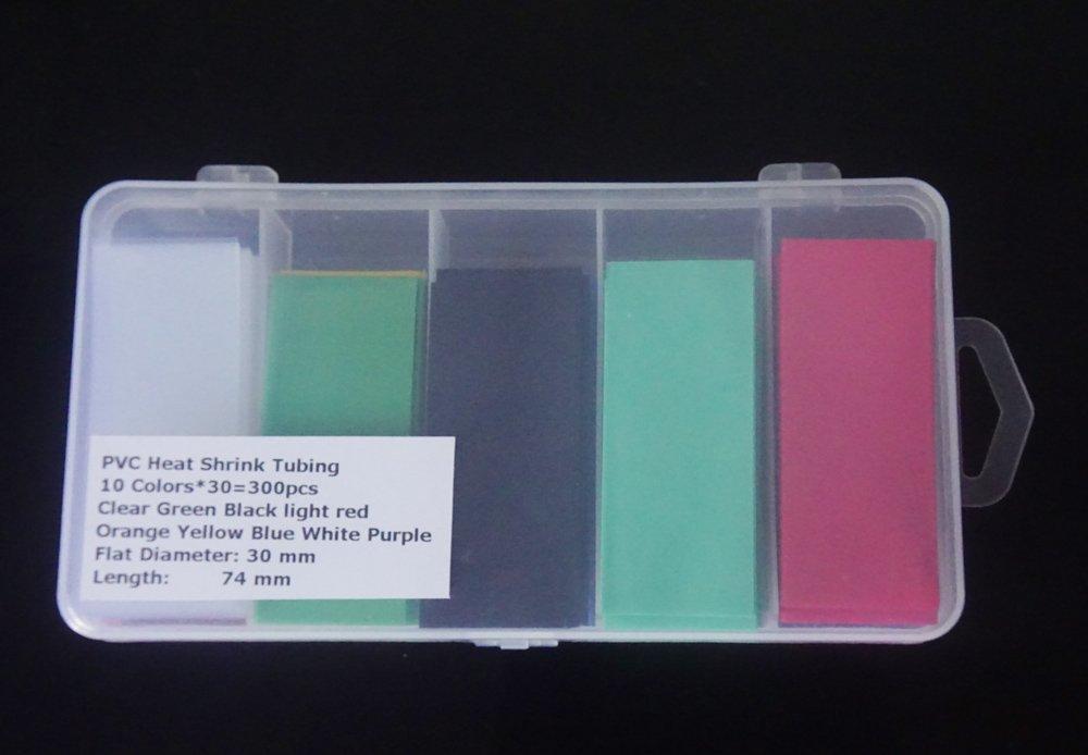 18650 Battery Skins Flat PVC Heat Shrink Tubing Battery Wrap 300pcs for 10 Color
