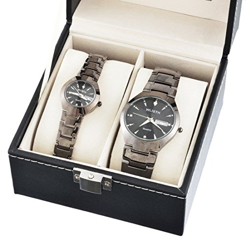 Souarts Black Color Round Dial Quartz Analog Couples Wrist Watch Waterproof Fashion Set for Students Couples Watch Business by Souarts