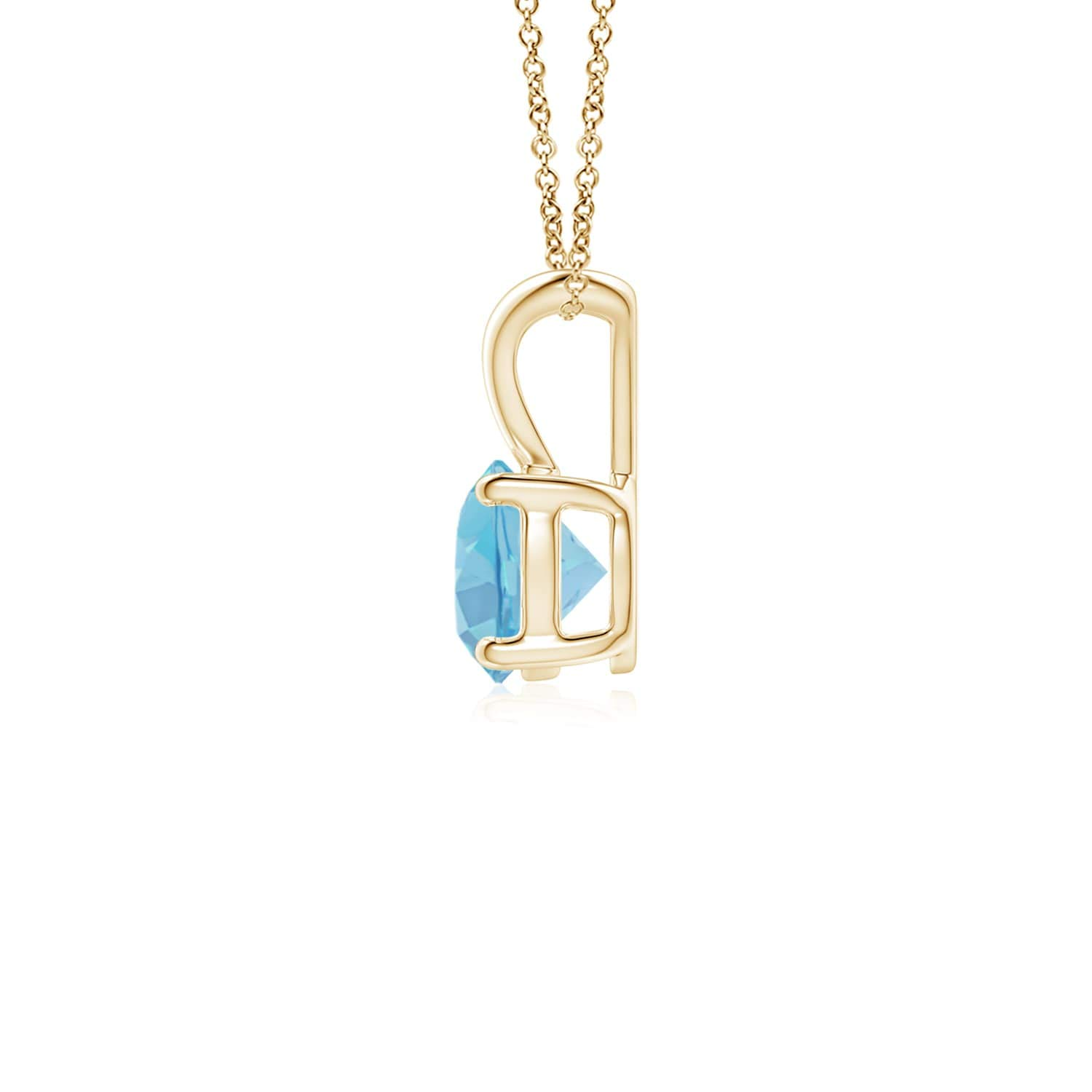 5mm Swiss Blue Topaz V-Bale Round Swiss Blue Topaz Solitaire Pendant