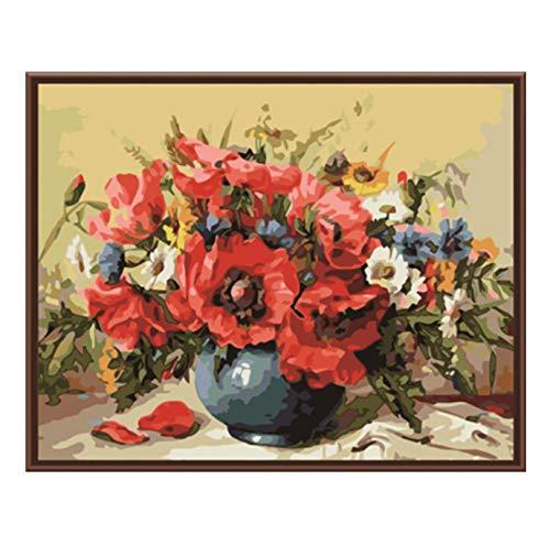 Cuadro De Pintura De Bricolaje Por Números Decoración Para El Hogar Pintura Al Óleo Sobre Lienzo Diy De La Flor Para La Sala De Estar Arte De La Pared Sin Marco 40x50cm