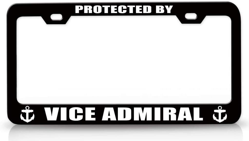 Custom Brother - Protected by VICE Admiral Navy Steel Metal License Plate Frame Bl